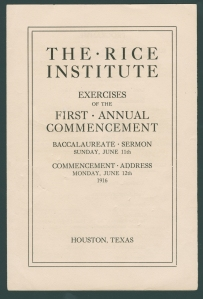 Rice Institute Class of 1916 Commencement program