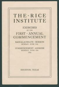 Rice Institute Class of 1916 Commencement program