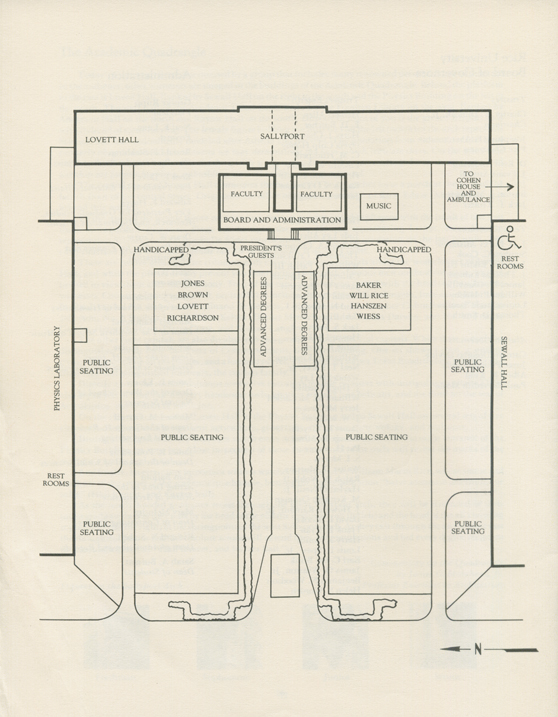 Rice Commencement seating map, 1990