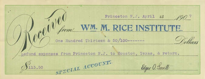 Reimbursement check for Dr. Edgar Odell Lovett's travel to Houston, 1907