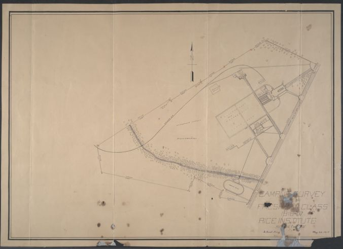 """""""Rice Institute land survey created by first engineering class."""" 1917. http://hdl.handle.net/1911/63590."""