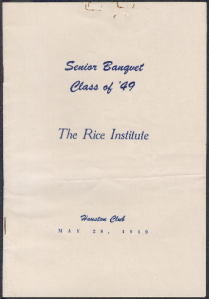 1949 Senior Banquet Program