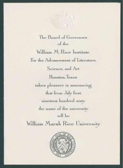 Announcement of Rice Institute's name change to William Marsh Rice University, July 1, 1960