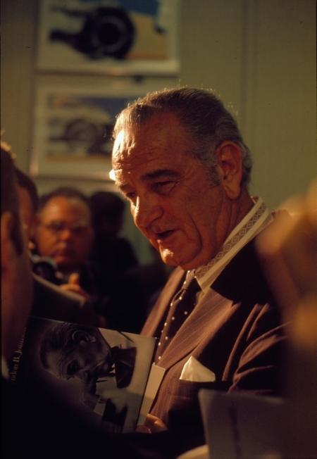 Former President Lyndon B. Johnson (LBJ) speaking at Sid Richardson dedication