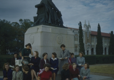 Homecoming Queen candidates at Willy's Statue, 1951