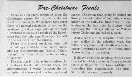 Pre-Christmas Finals
