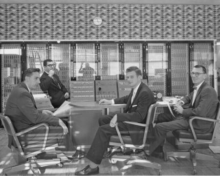 our men (from left to right): John Kenneth Iliffe, Martin Graham, Zevi Salsburg, and John Kilpatrick sitting in front of the R1