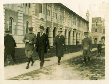 General John J. Pershing, Dr. Edgar O. Lovett, and Lindsey Blayney on Pershing Day, Rice Institute