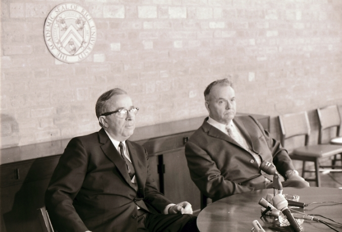 Press conference with Dr. Masterson and Herb Allen during the during Masterson presidency controversy