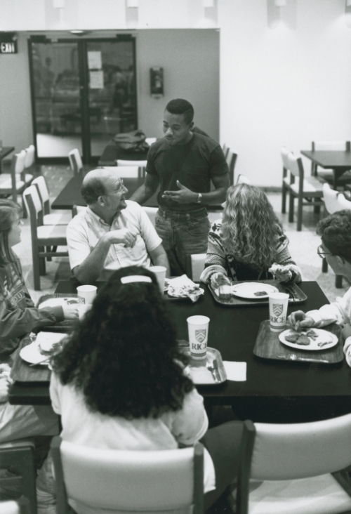 "Dr. William L. ""Bill"" Wilson with students at Wiess College"