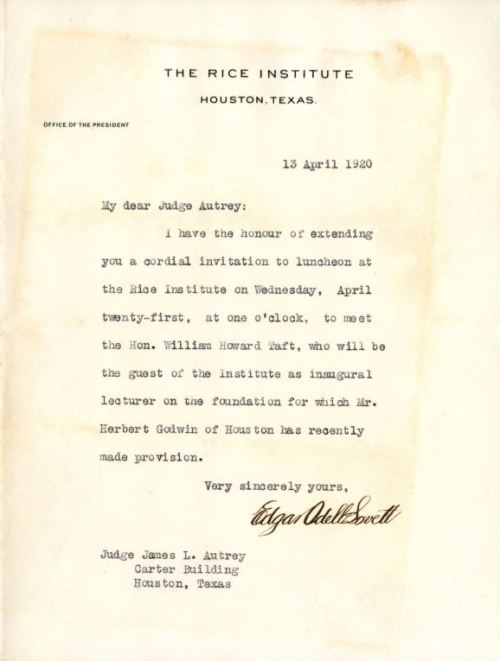 Invitation to meet Pres. William Howard Taft