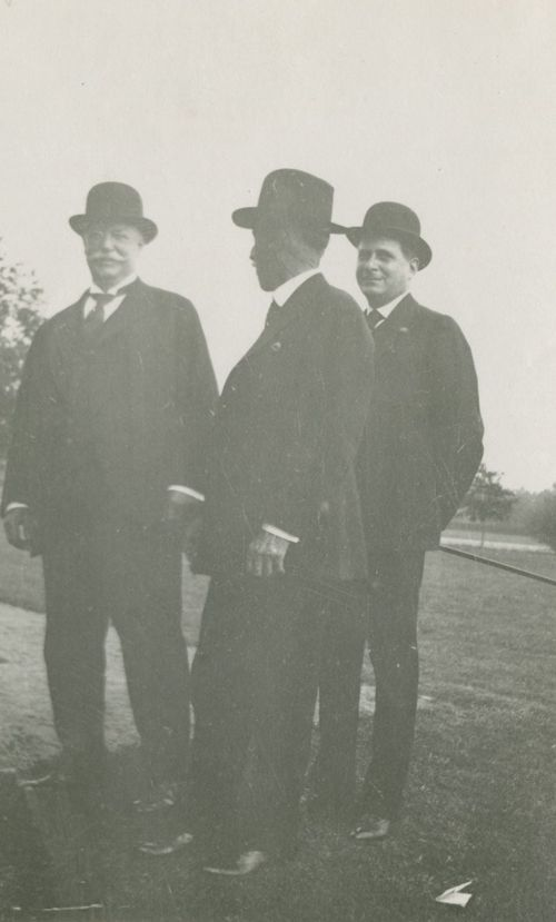 Pres. William Howard Taft, an unknown person, and Edgar Odell Lovett