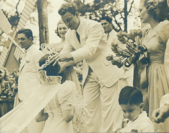May Fete King Jim Nance crowns Queen Mildred O'Riordan, 1938