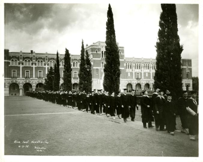 Commencement, Rice Institute, academic procession, 1935