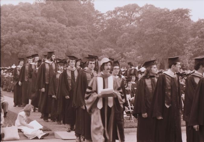 Rice University Commencement procession, 1975