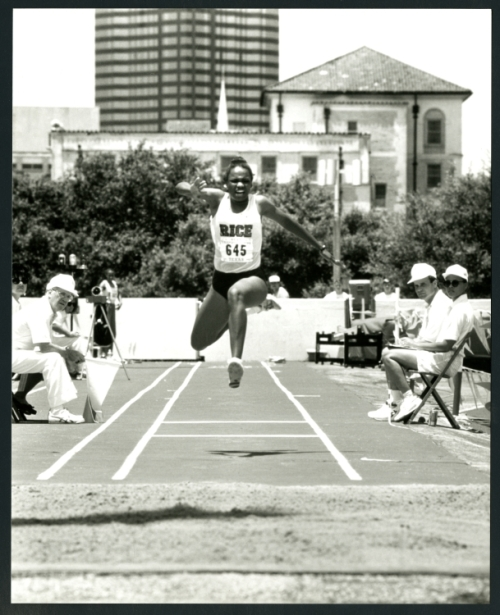 Claudia Haywood, Triple Jump, ca. 1990. She went on to win Gold at the 1992 Olympics.