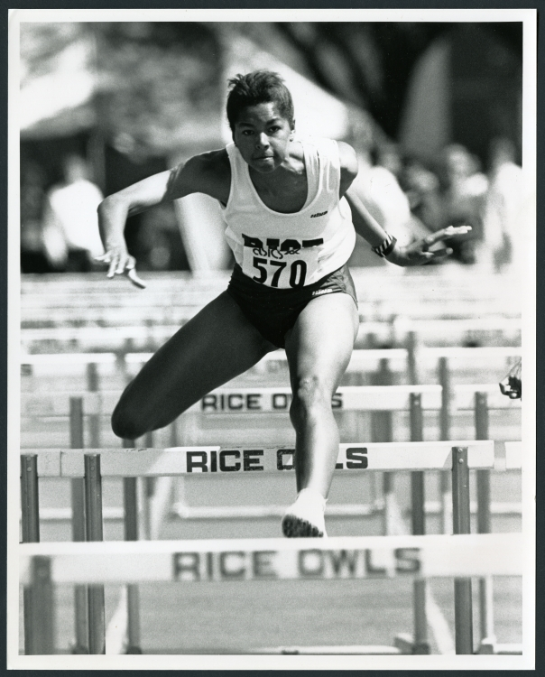 Pam Brooks, 4x400 relay, 4x800 relay, and hurdles, ca. 1993