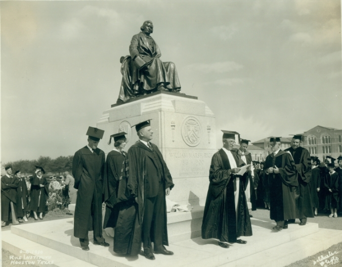 Unveiling ceremony of the statue of William Marsh Rice, 1930