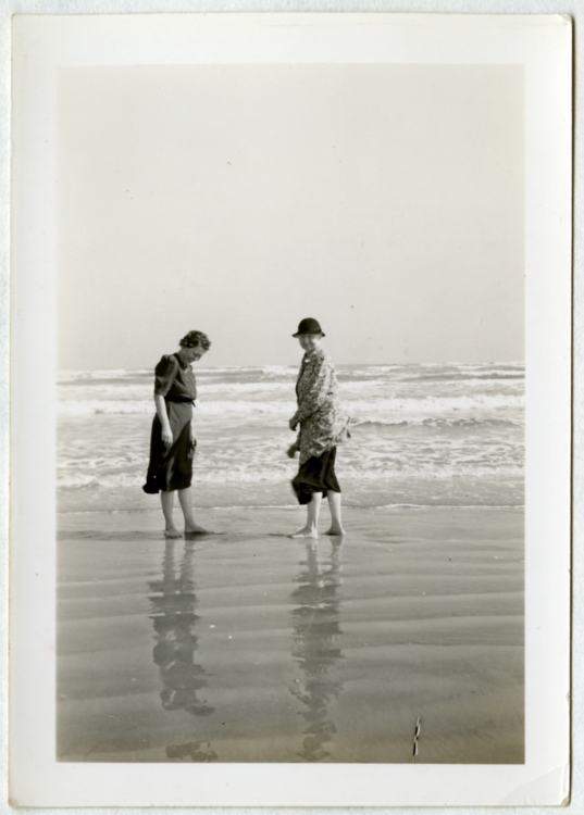 Gertrude Bray and Alice Dean of Rice Institute, wading at Galveston, 1939