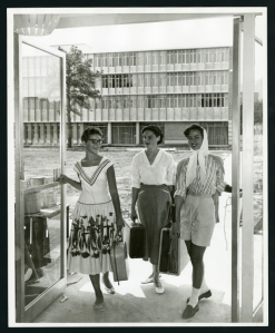 Jones College students moving in to the new college, 1957