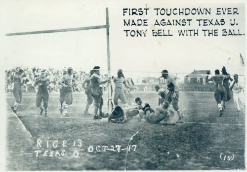 First Touchdown made by Rice Institute against University of Texas in 1917