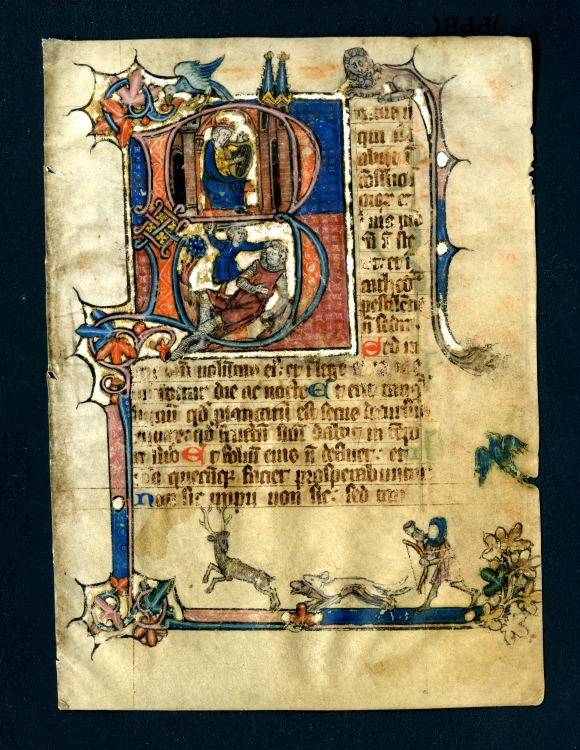 Beatus leaf from a Psalter in Latin, Southern Netherlands, with a fine historiated initial showing scenes from the life of King David and with a decorative border including a hunting scene, Side 1