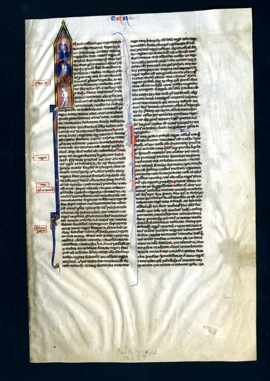 Leaf from a Bible, Paris, France, featuring an historiated initial showing King Ahasuerus, Esther, and Mordecai, all connected by a hangman's rope, Side 1