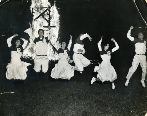 Cheerleaders at Homecoming Bonfire, 1953