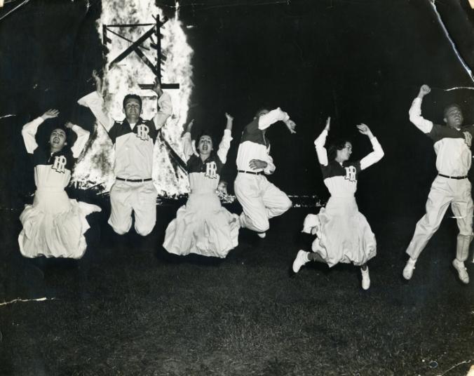 Cheerleaders at Homecoming Bonfire, 1953