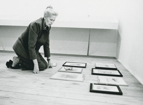 Dominique de Menil preparing for the Max Ernst exhibit, 1972