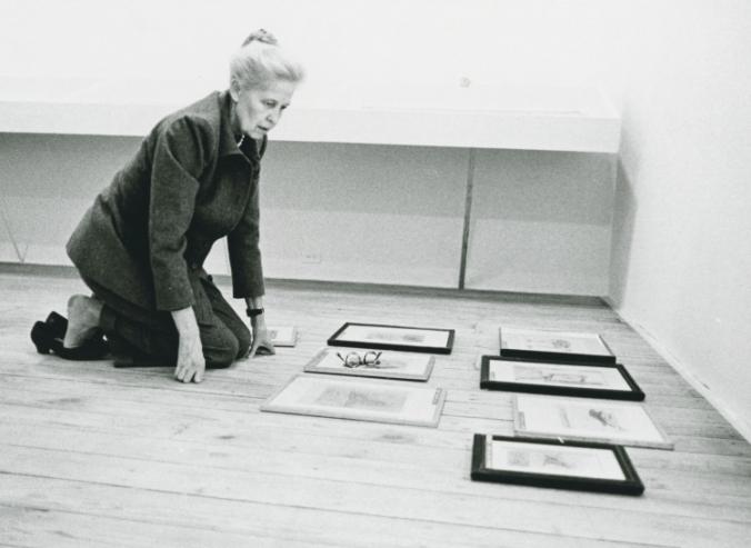 Dominique de Menil preparing for the Max Ernst exhibit, 1972