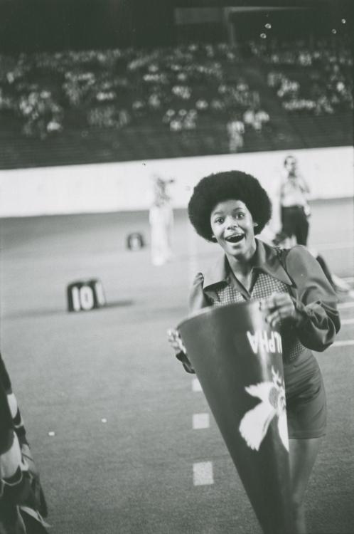 Alpha Morgan, cheerleader, 1972