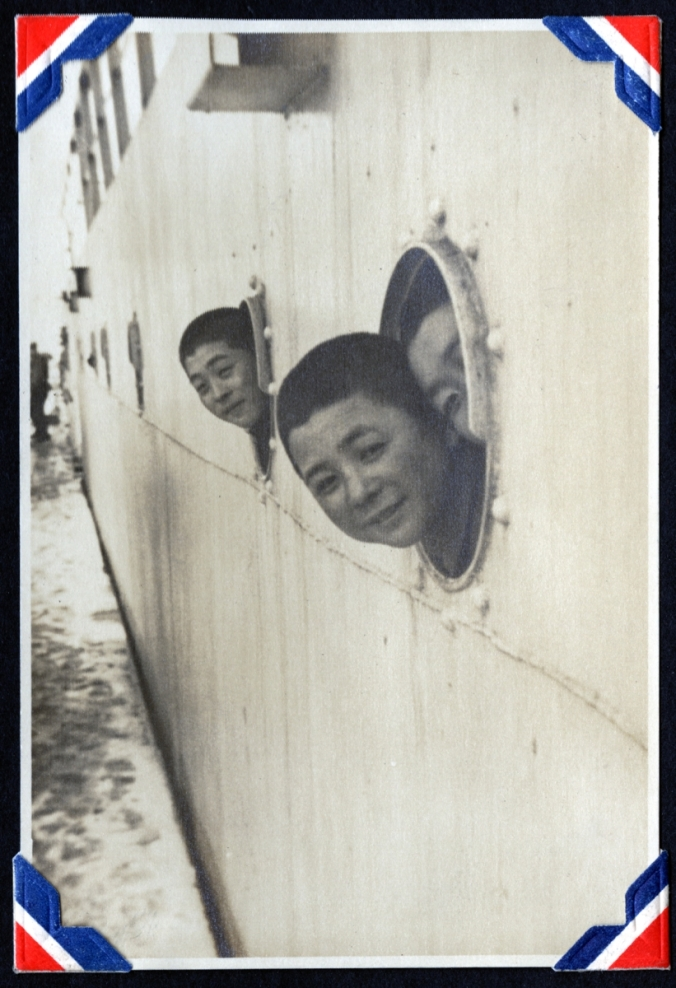 Japanese men on a ship during post-World War II occupation, ca. 1948