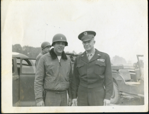 Unknown solder with Gen. Dwight D. Eisenhower, France, 1944