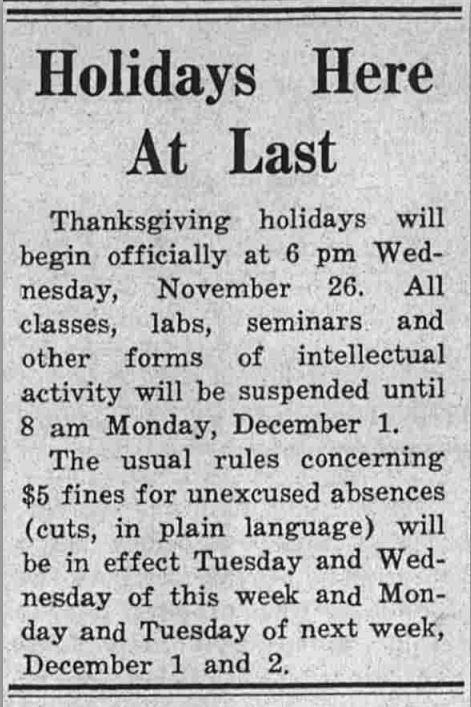 Holidays Here At Last, The Rice Thresher, November 25, 1958