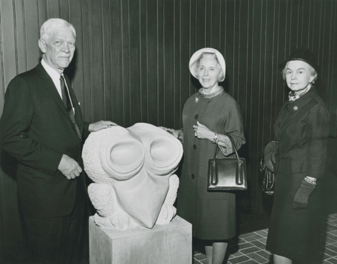 Pictured: George R. Brown, Alice Brown, and Oveta Culp Hobby at the Allen Center open house. George R. Brown's brother, Herman and his wife Margaret Root also donated.