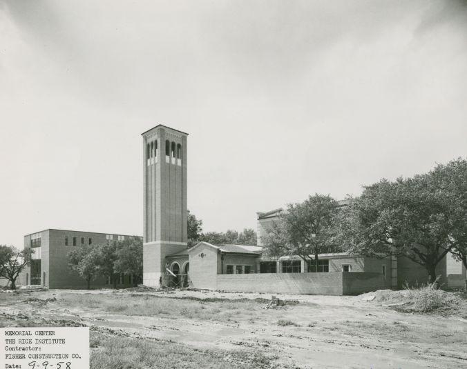 Rice Memorial Center construction, exterior view