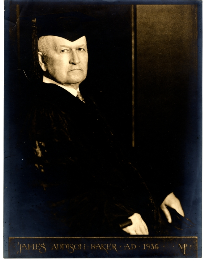 Captain James Addison Baker in academic regalia, 1936