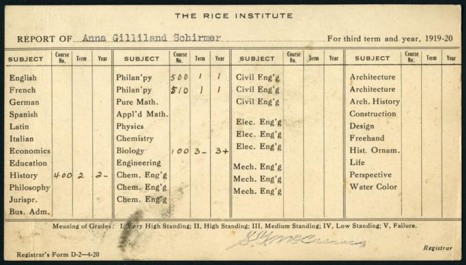 Anna Gilliland Schirmer report card, 1919/1920