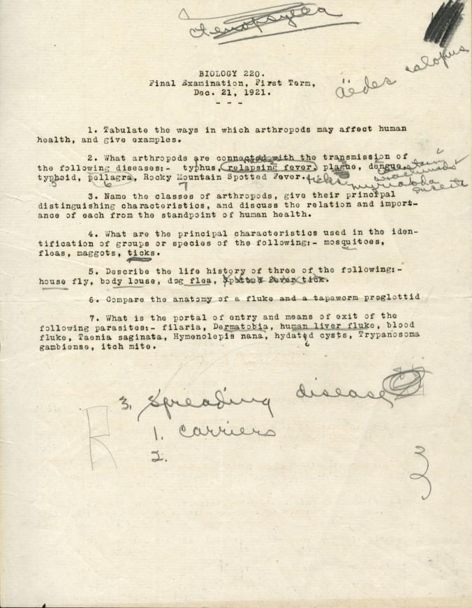Biology 220 Final Exam, December 21, 1921