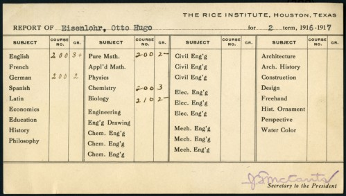 Otto Hugo Eisenlohr report card, 1916/1917