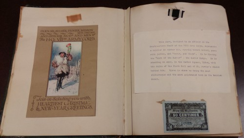 Holiday card with explanation on right, 1916