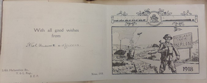 Inside of card with greeting and drawing, 1918