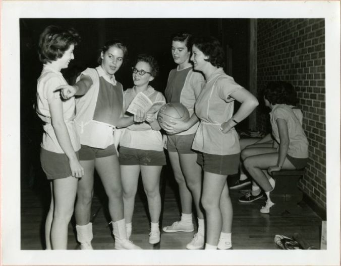 The Progressives intramural basketball team. Pictured from left to right: Rosalyn Revis, Louise Coats, Evelyn Ferguson, Dot Demoss, and Caroline Broughton.