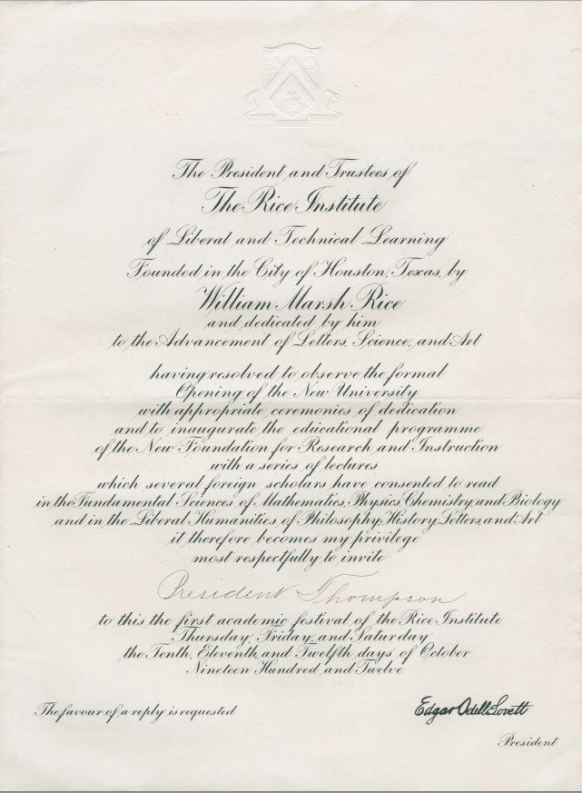 Invitation to the Formal Opening of the Rice Institute, 1912