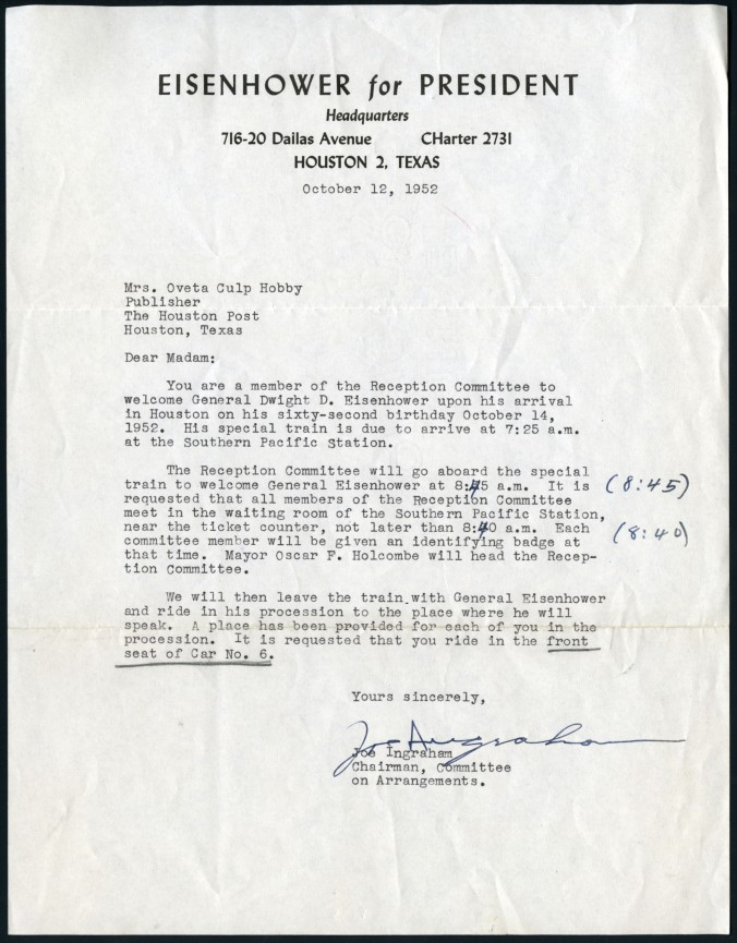 Letter from Eisenhower Campaign, October 12, 1952, Oveta Culp Hobby Papers, MS 459, Box 22, Folder 1