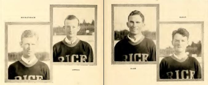 Tennis team wearing their sweaters, 1929