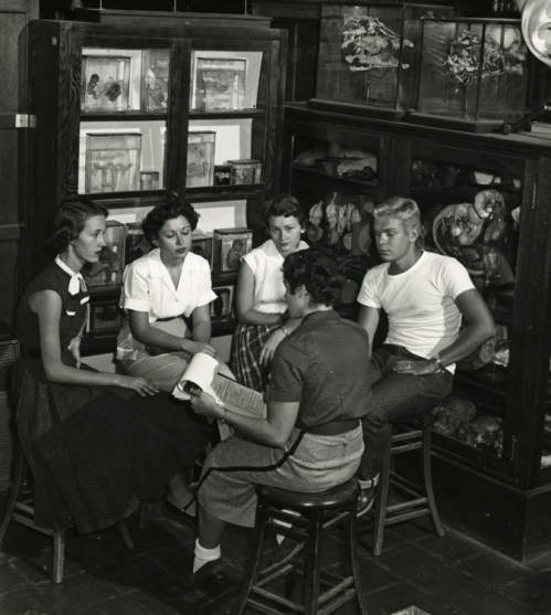 Biology lab seminar meeting, 1954