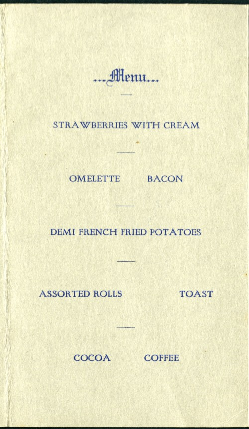 Breakfast menu, 1924