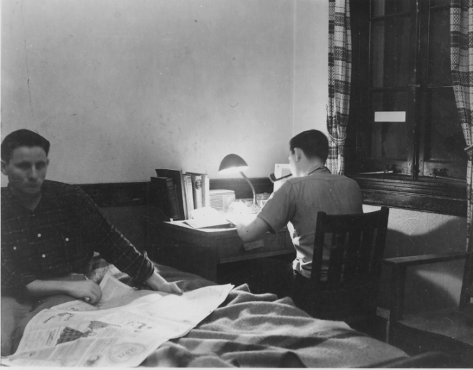 John Stock and Jim Casten in dorm room, 1941